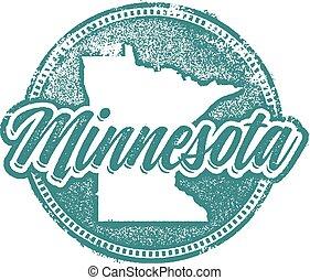 Minnesota State Stamp - Minnesota vintage style distressed...
