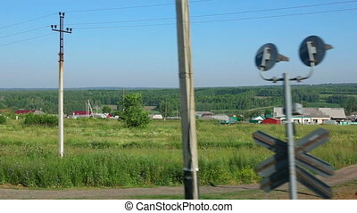 Siberian landscape - View through the window of the suburban...