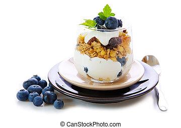fresco, yogur, con, Arándanos, .,
