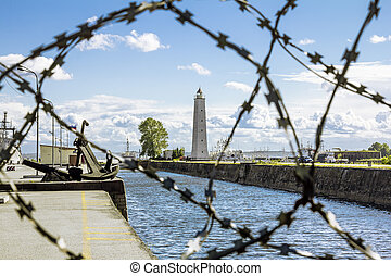 views of the Wooden lighthouse in kronstadt .St. Petersburg....