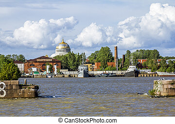 Nicholas Naval Cathedral in the city of Kronstadt, St....