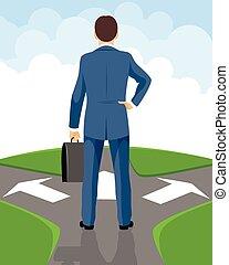 Businessman makes a decision