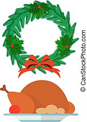 Christmas wreath and festive turkey