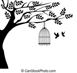 Bird Cage - vector illustration of a tree with cage and...