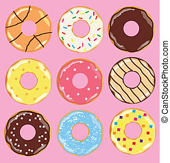 Donuts - vector illustration of colorful donut background