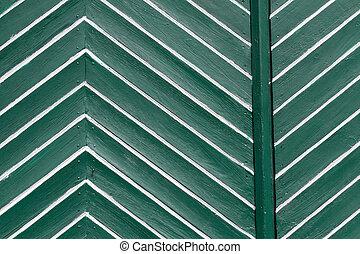 Green white door