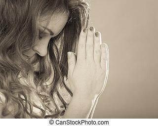 mulher, fé, Deus, religião,  Jesus, orando