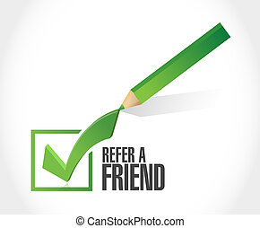 refer a friend checkmark sign concept illustration design