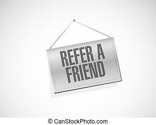 refer a friend hanging sign concept illustration design