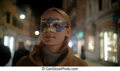 Woman in Carnival Mask Walking in Venice, Italy - Steadicam...