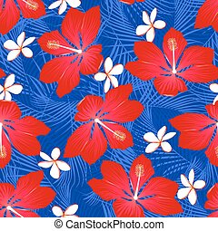 Tropical palm leaves with hibiscus flowers seamless pattern on a white background