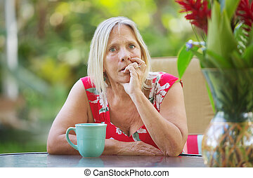 Nervous Woman Biting Fingernails