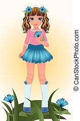 Blue Cornflower young girl, vector illustration