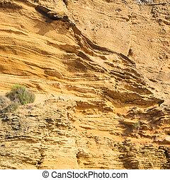 yellow rock sediments Stratification of yellow stone