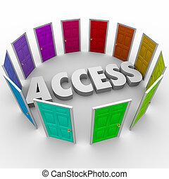Acceso, abierto, puertas, admisión, exclusivo,...