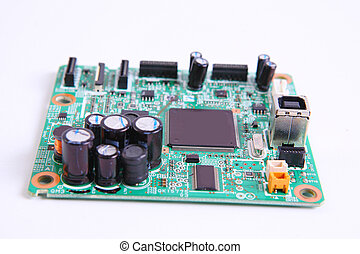 computer micro circuit board - electronic circuit isolated...