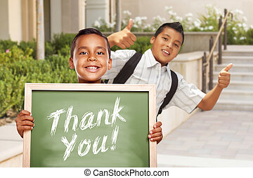 Boys Giving Thumbs Up Holding Thank You Chalk Board - Happy...