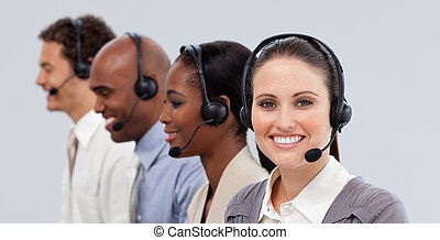 Close-up of customer business representatives with headset...