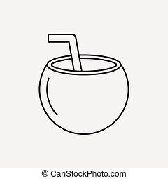 coconut drink line icon