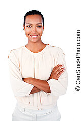 Smiling afro-american businesswoman with folded arms
