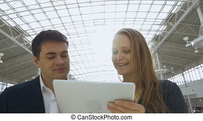 Business People with Tablet PC in Office Building -...