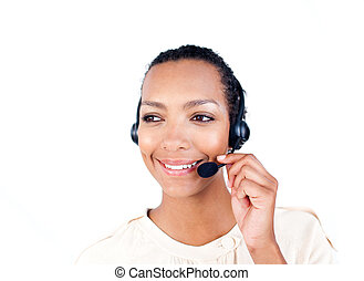 Self-assured Customer service representative with headset on...