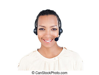 Smiling Customer service representative with headset on...