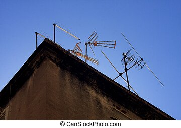 roof with antenna - roof with TV antennas