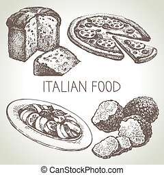 Hand drawn sketch Italian food set.Vector illustration