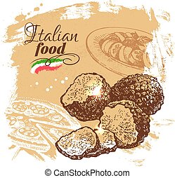 Hand drawn sketch Italian food backgroundVector illustration...