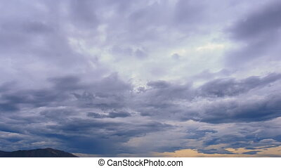 view of fantastic strange motion of white blue clouds