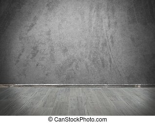 Grey wall and parquet - Grunge background with grey wall and...