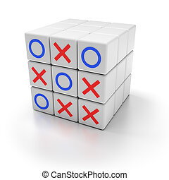 Tic tac toe game - Puzzle cubes with tic tac toe game, 3d...
