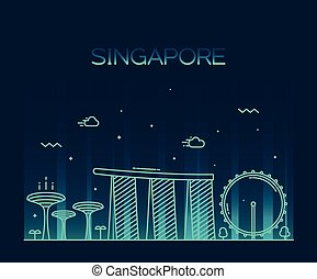 Singapore City skyline Trendy vector line art