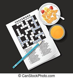 illustration of crossword game with cereal bowl and orange juice
