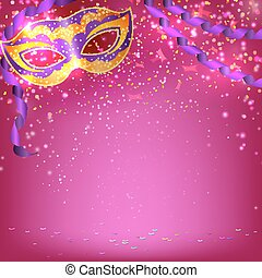 Basic RGB - Pink banner with theatrical carnival mask....