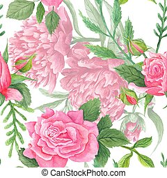 Shabby Chic Watercolor Peony and Rose Pattern - Vintage...