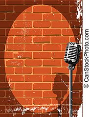 Musical Event Poster Grunge - A microphone ready on stage...