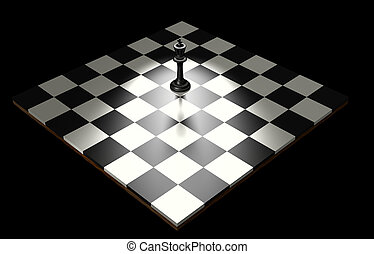 Chess King - Black king alone on a chess game board