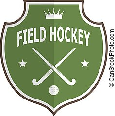 Green logo badge for the team field hockey on a white background . Vector illustration
