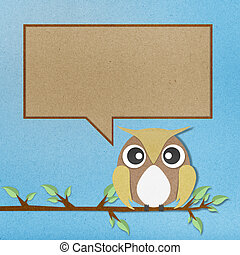Owl for text paper craft on blue background.