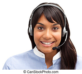 Beautiful customer service representative smiling