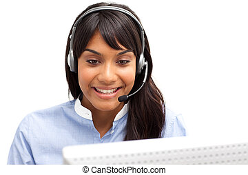 Positive ethnic customer service representative using...