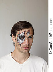 Halloween face painting - Scary man with face painting...