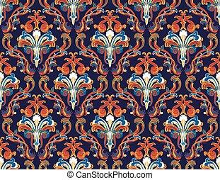 seamless damask pattern - Colourfull seamless damask ornate...