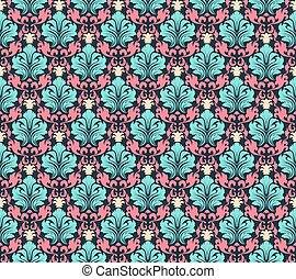 seamless damask pattern - Colourfull seamless damask ornate...