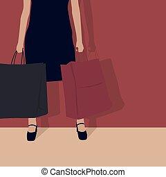 Shopping girl. Vector Illustration