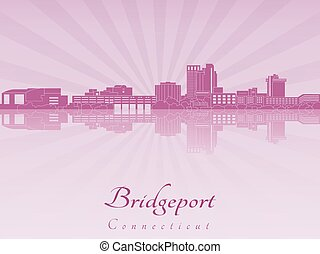 Bridgeport CT skyline in purple radiant orchid - Bridgeport...