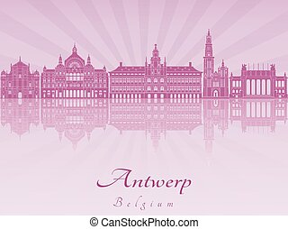 Antwerp skyline in purple radiant orchid in editable vector...