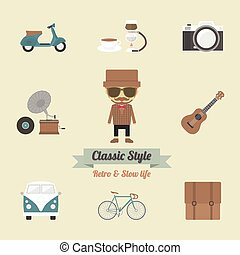 113.hipster life.eps - hipster gadget, retro and vintage...